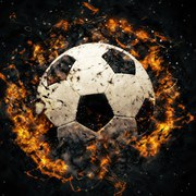 Close-up soccer ball in fire on dark background